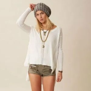 Free people linen cotton polyester hi lo knit